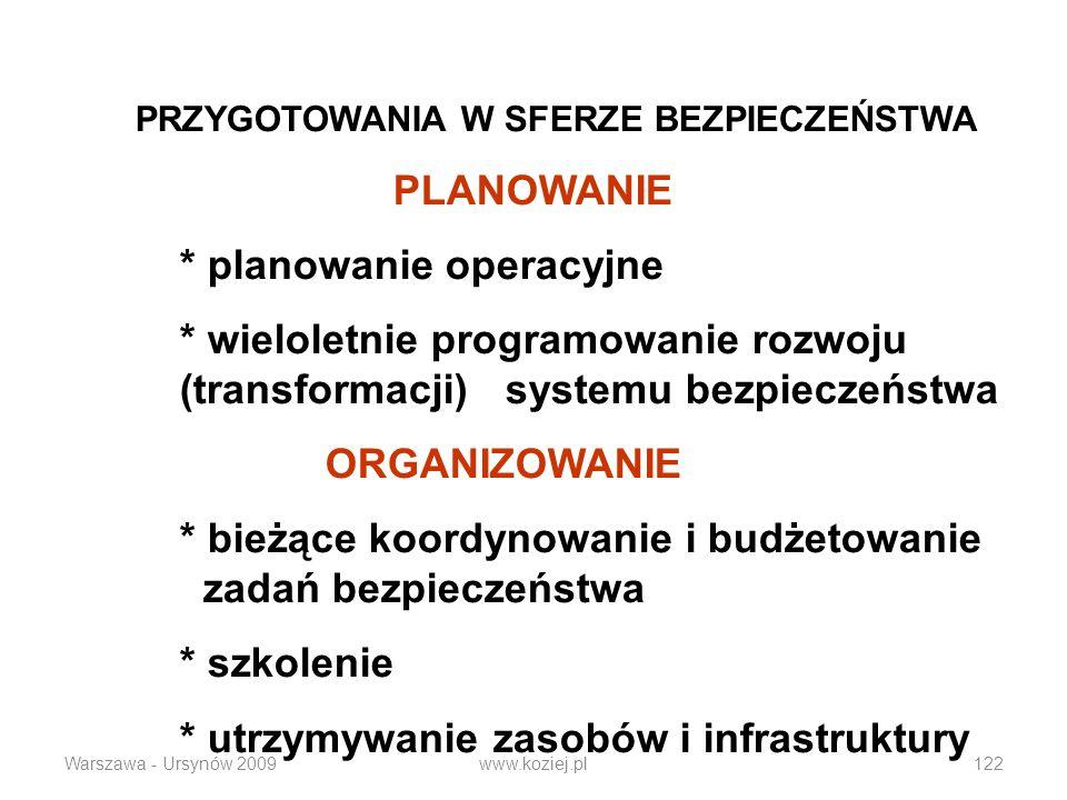 Warszawa - Ursynów 2009www.koziej.pl122 PRZYGOTOWANIA W SFERZE BEZPIECZEŃSTWA PLANOWANIE * planowanie operacyjne * wieloletnie programowanie rozwoju (transformacji) systemu bezpieczeństwa ORGANIZOWANIE * bieżące koordynowanie i budżetowanie zadań bezpieczeństwa * szkolenie * utrzymywanie zasobów i infrastruktury