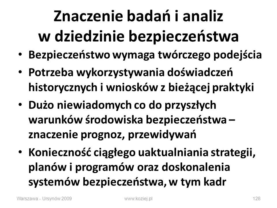 Znaczenie badań i analiz w dziedzinie bezpieczeństwa Bezpieczeństwo wymaga twórczego podejścia Potrzeba wykorzystywania doświadczeń historycznych i wniosków z bieżącej praktyki Dużo niewiadomych co do przyszłych warunków środowiska bezpieczeństwa – znaczenie prognoz, przewidywań Konieczność ciągłego uaktualniania strategii, planów i programów oraz doskonalenia systemów bezpieczeństwa, w tym kadr Warszawa - Ursynów 2009www.koziej.pl128