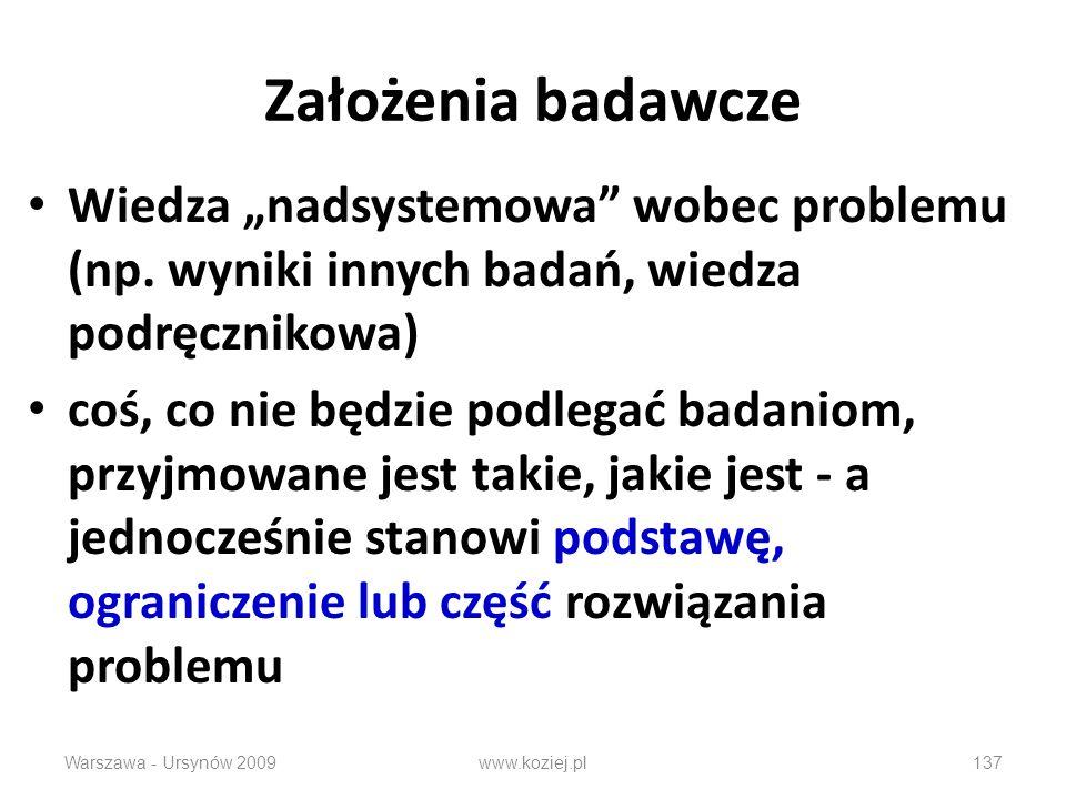 Założenia badawcze Wiedza nadsystemowa wobec problemu (np.