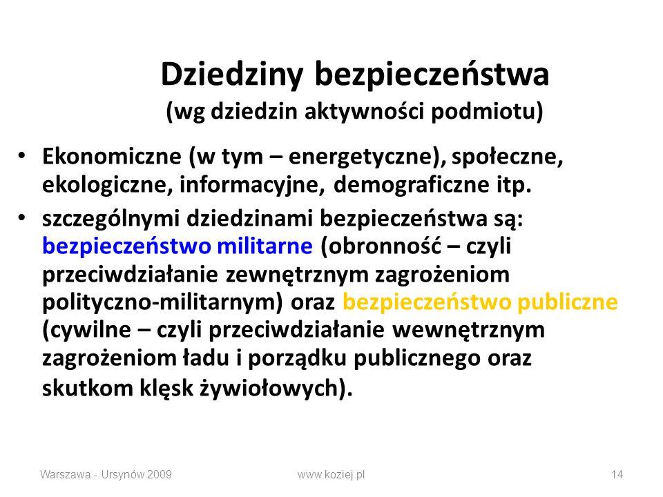 Dziedziny bezpieczeństwa (wg dziedzin aktywności podmiotu) Ekonomiczne (w tym – energetyczne), społeczne, ekologiczne, informacyjne, demograficzne itp.