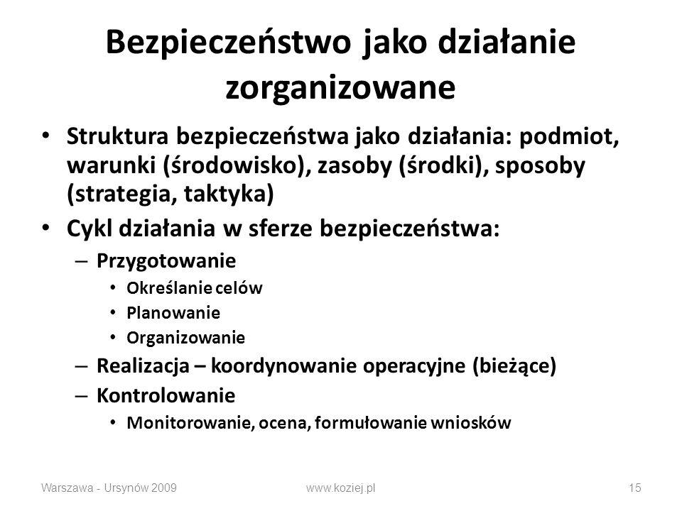 Bezpieczeństwo jako działanie zorganizowane Struktura bezpieczeństwa jako działania: podmiot, warunki (środowisko), zasoby (środki), sposoby (strategia, taktyka) Cykl działania w sferze bezpieczeństwa: – Przygotowanie Określanie celów Planowanie Organizowanie – Realizacja – koordynowanie operacyjne (bieżące) – Kontrolowanie Monitorowanie, ocena, formułowanie wniosków Warszawa - Ursynów 2009www.koziej.pl15
