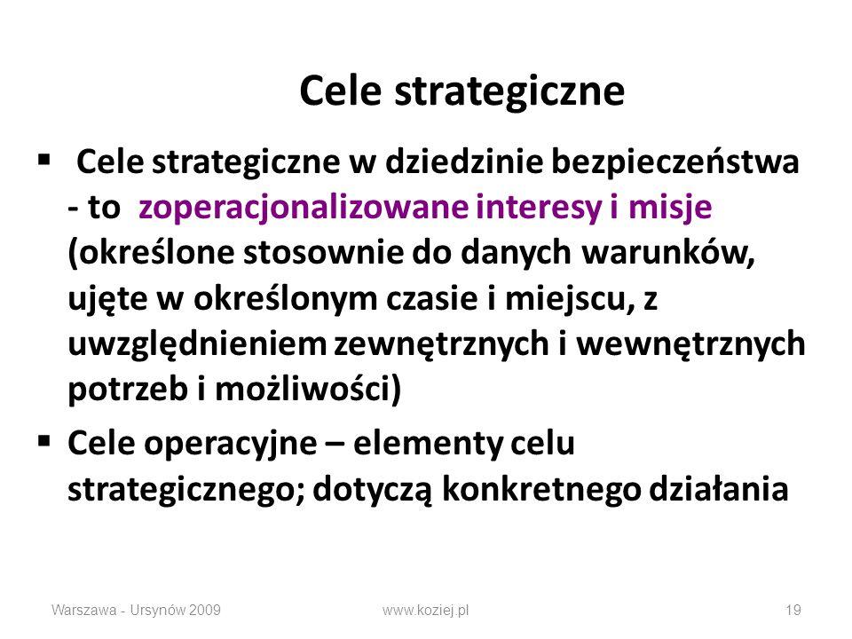 Cele strategiczne Cele strategiczne w dziedzinie bezpieczeństwa - to zoperacjonalizowane interesy i misje (określone stosownie do danych warunków, ujęte w określonym czasie i miejscu, z uwzględnieniem zewnętrznych i wewnętrznych potrzeb i możliwości) Cele operacyjne – elementy celu strategicznego; dotyczą konkretnego działania Warszawa - Ursynów 2009www.koziej.pl19