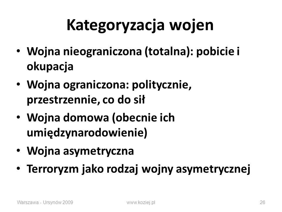 Kategoryzacja wojen Wojna nieograniczona (totalna): pobicie i okupacja Wojna ograniczona: politycznie, przestrzennie, co do sił Wojna domowa (obecnie ich umiędzynarodowienie) Wojna asymetryczna Terroryzm jako rodzaj wojny asymetrycznej Warszawa - Ursynów 2009www.koziej.pl26