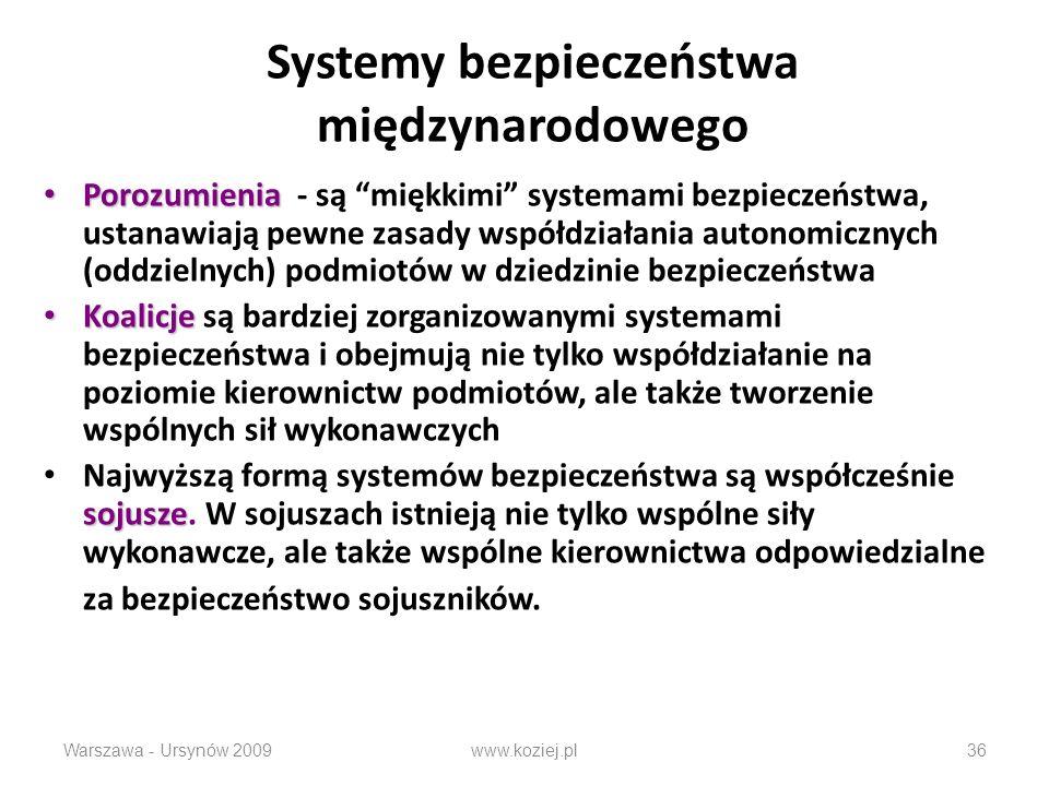 Systemy bezpieczeństwa międzynarodowego Porozumienia Porozumienia - są miękkimi systemami bezpieczeństwa, ustanawiają pewne zasady współdziałania auto