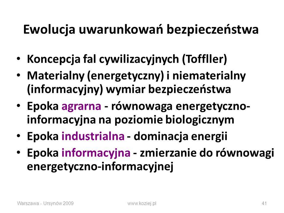Ewolucja uwarunkowań bezpieczeństwa Koncepcja fal cywilizacyjnych (Toffller) Materialny (energetyczny) i niematerialny (informacyjny) wymiar bezpieczeństwa Epoka agrarna - równowaga energetyczno- informacyjna na poziomie biologicznym Epoka industrialna - dominacja energii Epoka informacyjna - zmierzanie do równowagi energetyczno-informacyjnej Warszawa - Ursynów 2009www.koziej.pl41