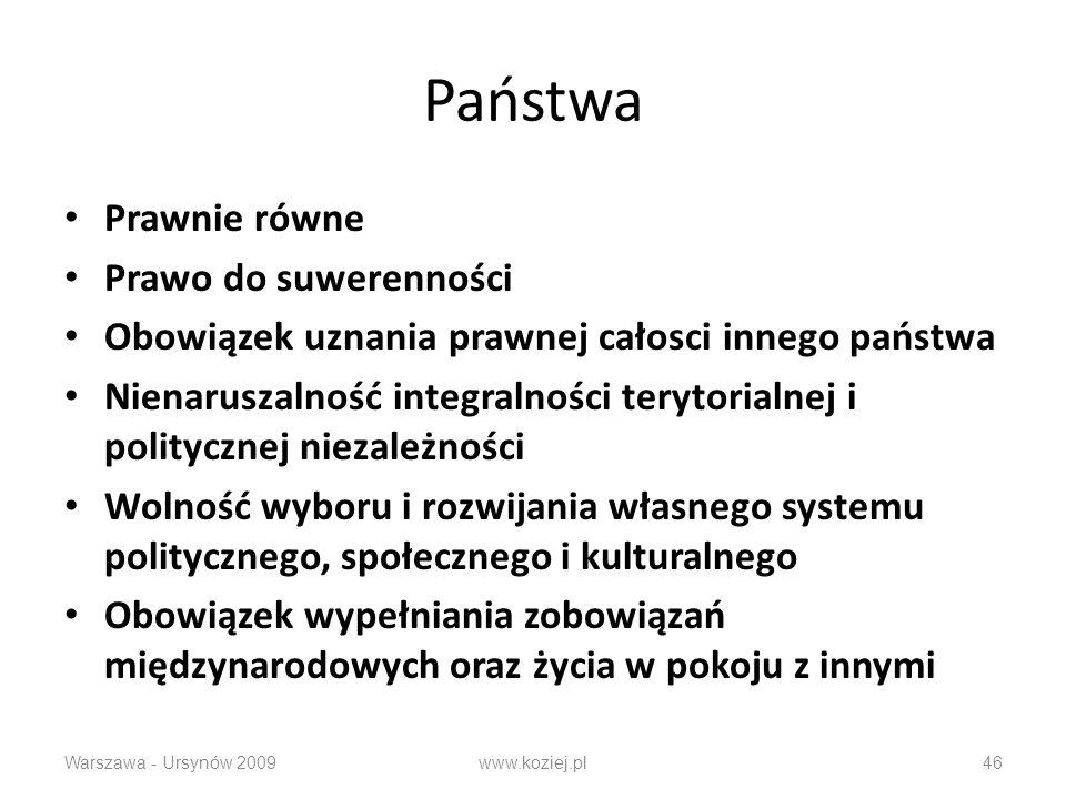 Państwa Prawnie równe Prawo do suwerenności Obowiązek uznania prawnej całosci innego państwa Nienaruszalność integralności terytorialnej i politycznej niezależności Wolność wyboru i rozwijania własnego systemu politycznego, społecznego i kulturalnego Obowiązek wypełniania zobowiązań międzynarodowych oraz życia w pokoju z innymi Warszawa - Ursynów 2009www.koziej.pl46