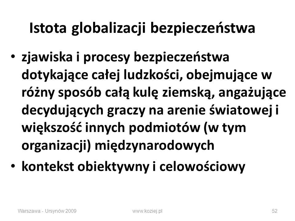 Istota globalizacji bezpieczeństwa zjawiska i procesy bezpieczeństwa dotykające całej ludzkości, obejmujące w różny sposób całą kulę ziemską, angażujące decydujących graczy na arenie światowej i większość innych podmiotów (w tym organizacji) międzynarodowych kontekst obiektywny i celowościowy Warszawa - Ursynów 2009www.koziej.pl52