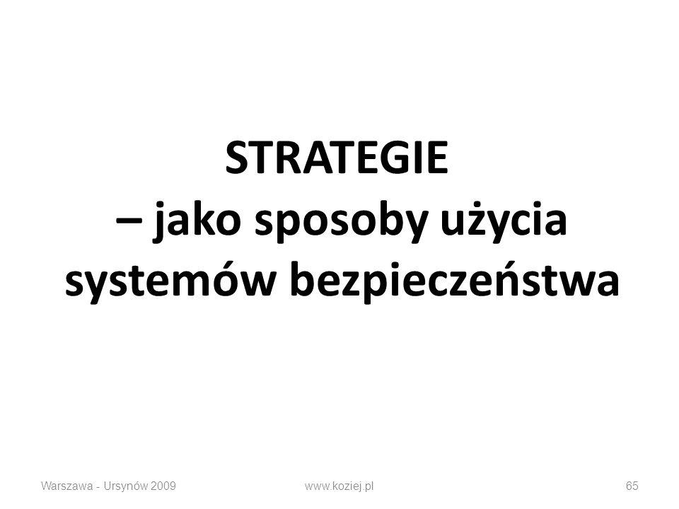 STRATEGIE – jako sposoby użycia systemów bezpieczeństwa Warszawa - Ursynów 2009www.koziej.pl65
