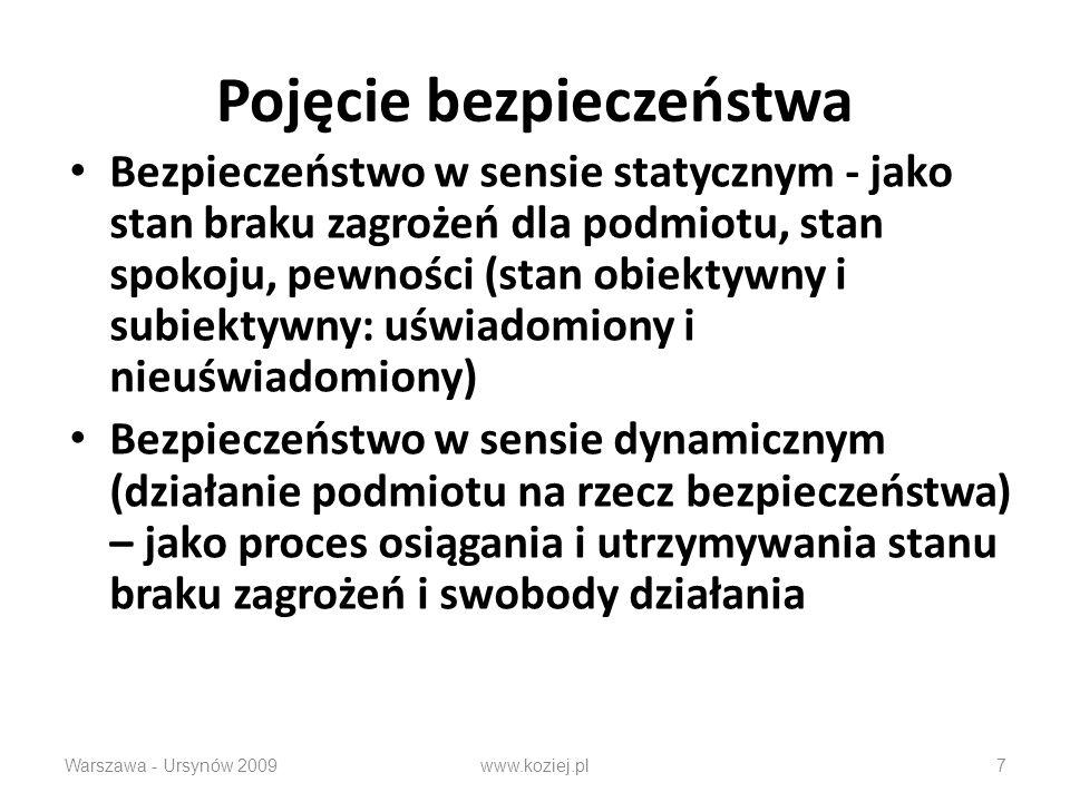 Pojęcie bezpieczeństwa Bezpieczeństwo w sensie statycznym - jako stan braku zagrożeń dla podmiotu, stan spokoju, pewności (stan obiektywny i subiektywny: uświadomiony i nieuświadomiony) Bezpieczeństwo w sensie dynamicznym (działanie podmiotu na rzecz bezpieczeństwa) – jako proces osiągania i utrzymywania stanu braku zagrożeń i swobody działania Warszawa - Ursynów 2009www.koziej.pl7