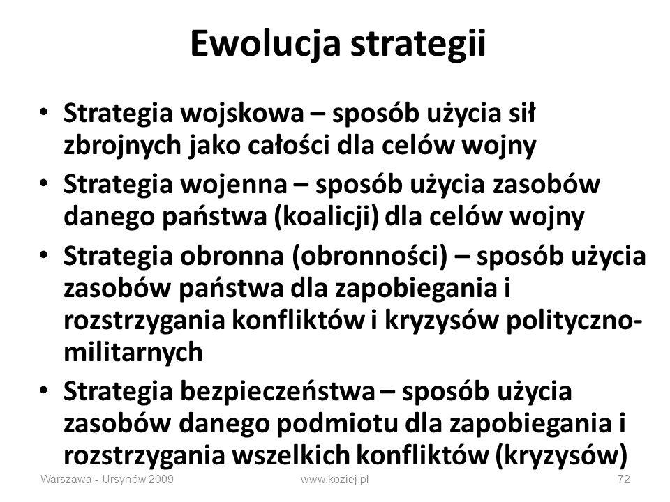 Warszawa - Ursynów 200972 Ewolucja strategii Strategia wojskowa – sposób użycia sił zbrojnych jako całości dla celów wojny Strategia wojenna – sposób