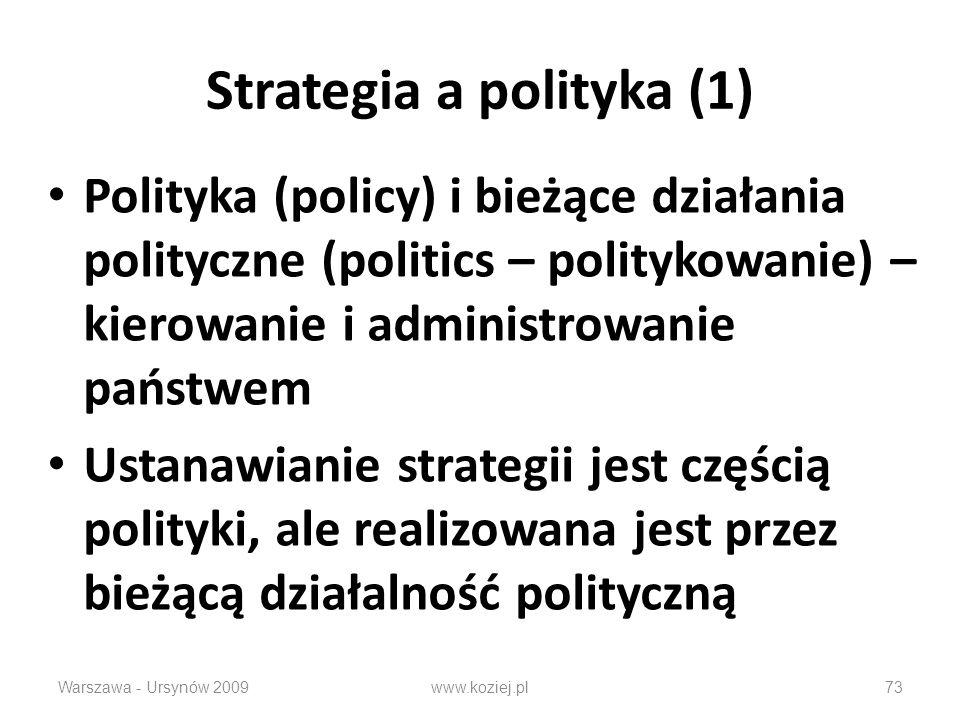 Warszawa - Ursynów 200973 Strategia a polityka (1) Polityka (policy) i bieżące działania polityczne (politics – politykowanie) – kierowanie i administrowanie państwem Ustanawianie strategii jest częścią polityki, ale realizowana jest przez bieżącą działalność polityczną www.koziej.pl