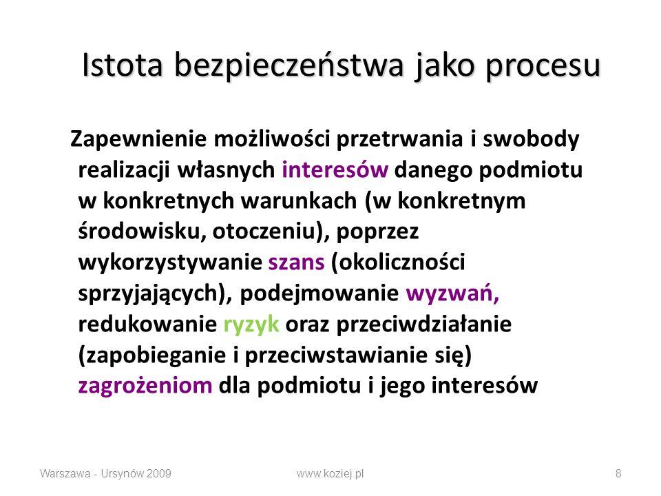 Istota bezpieczeństwa jako procesu Zapewnienie możliwości przetrwania i swobody realizacji własnych interesów danego podmiotu w konkretnych warunkach (w konkretnym środowisku, otoczeniu), poprzez wykorzystywanie szans (okoliczności sprzyjających), podejmowanie wyzwań, redukowanie ryzyk oraz przeciwdziałanie (zapobieganie i przeciwstawianie się) zagrożeniom dla podmiotu i jego interesów Warszawa - Ursynów 2009www.koziej.pl8