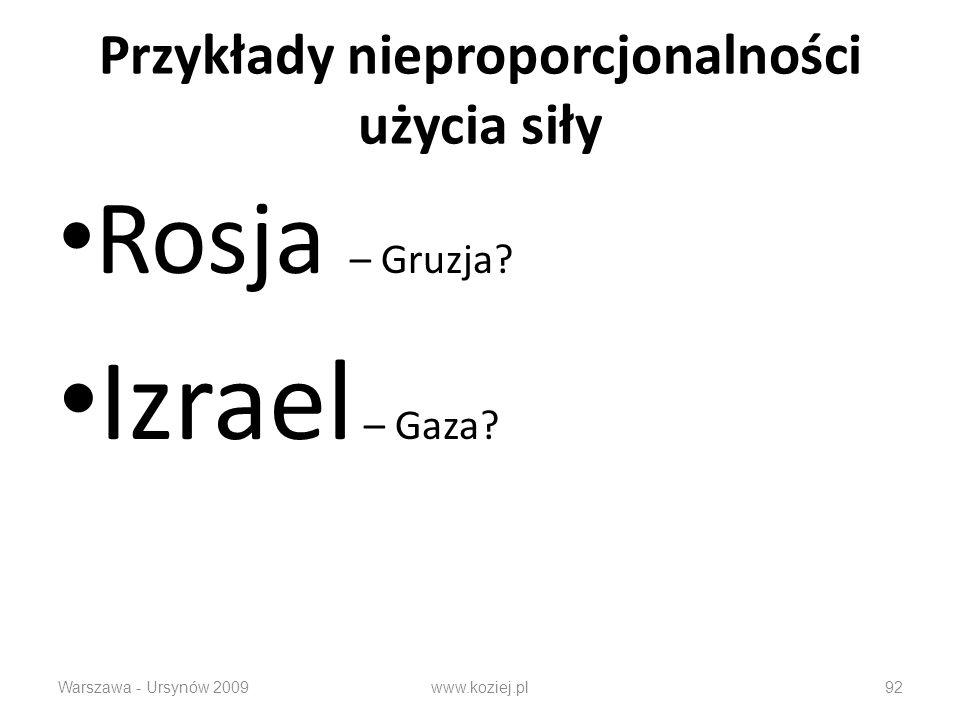 Przykłady nieproporcjonalności użycia siły Rosja – Gruzja? Izrael – Gaza? Warszawa - Ursynów 2009www.koziej.pl92