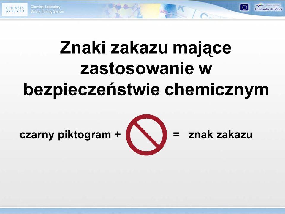 Znaki zakazu mające zastosowanie w bezpieczeństwie chemicznym czarny piktogram + = znak zakazu
