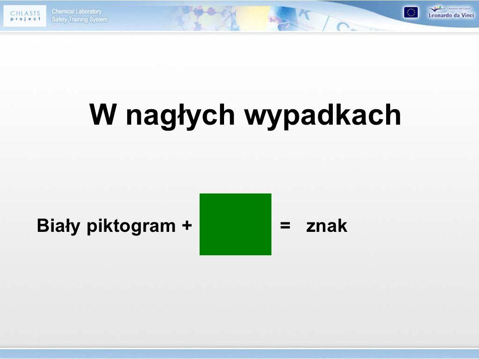 W nagłych wypadkach Biały piktogram + = znak