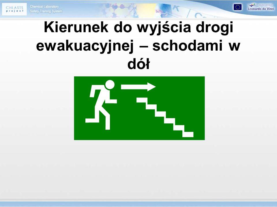 Kierunek do wyjścia drogi ewakuacyjnej – schodami w dół