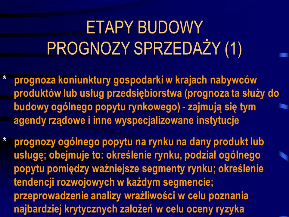 ETAPY BUDOWY PROGNOZY SPRZEDAŻY (1) * prognoza koniunktury gospodarki w krajach nabywców produktów lub usług przedsiębiorstwa (prognoza ta służy do bu