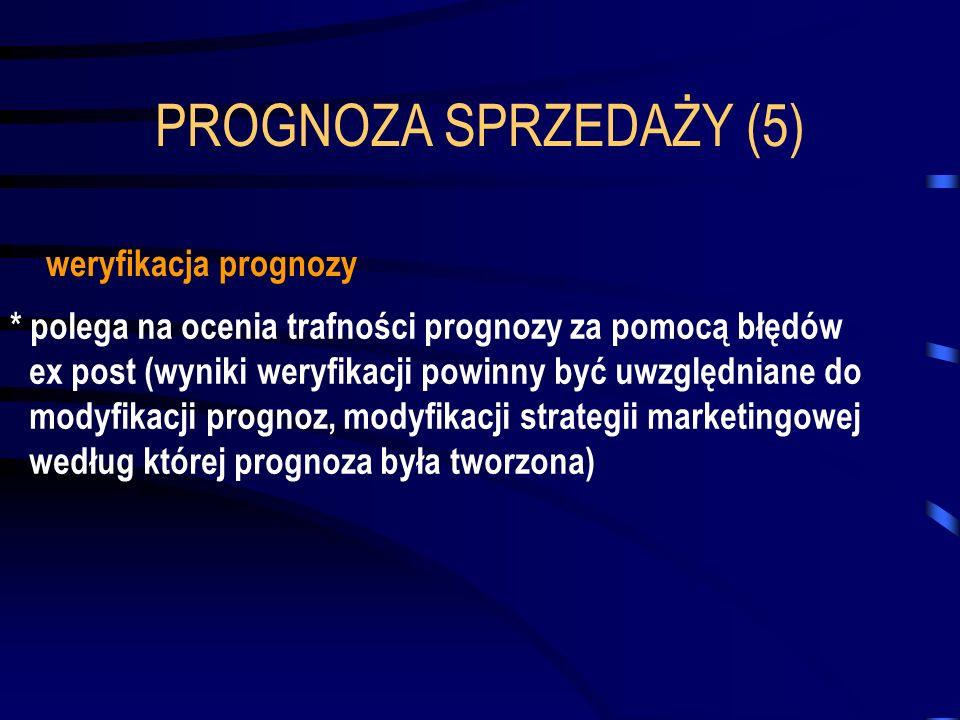 PROGNOZA SPRZEDAŻY (5) * polega na ocenia trafności prognozy za pomocą błędów ex post (wyniki weryfikacji powinny być uwzględniane do modyfikacji prog