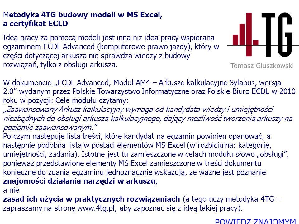 W dokumencie ECDL Advanced, Moduł AM4 – Arkusze kalkulacyjne Sylabus, wersja 2.0 wydanym przez Polskie Towarzystwo Informatyczne oraz Polskie Biuro EC
