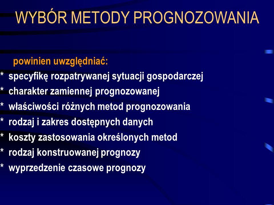 WYBÓR METODY PROGNOZOWANIA * specyfikę rozpatrywanej sytuacji gospodarczej * charakter zamiennej prognozowanej * właściwości różnych metod prognozowan