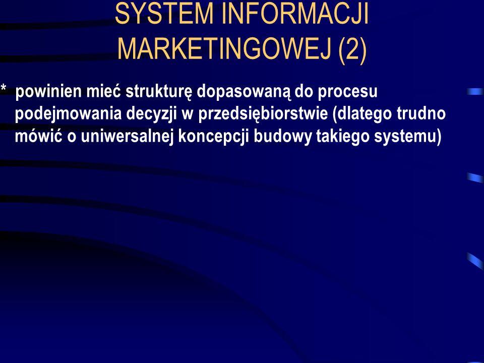 SYSTEM INFORMACJI MARKETINGOWEJ (2) * powinien mieć strukturę dopasowaną do procesu podejmowania decyzji w przedsiębiorstwie (dlatego trudno mówić o u