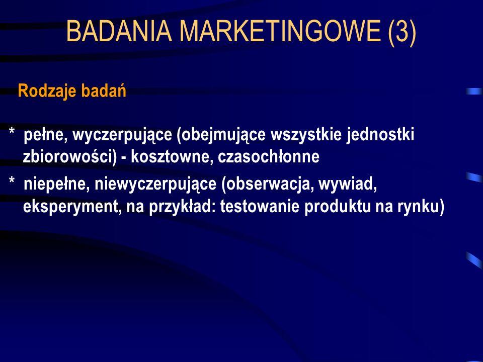 BADANIA MARKETINGOWE (3) Rodzaje badań * pełne, wyczerpujące (obejmujące wszystkie jednostki zbiorowości) - kosztowne, czasochłonne * niepełne, niewyc