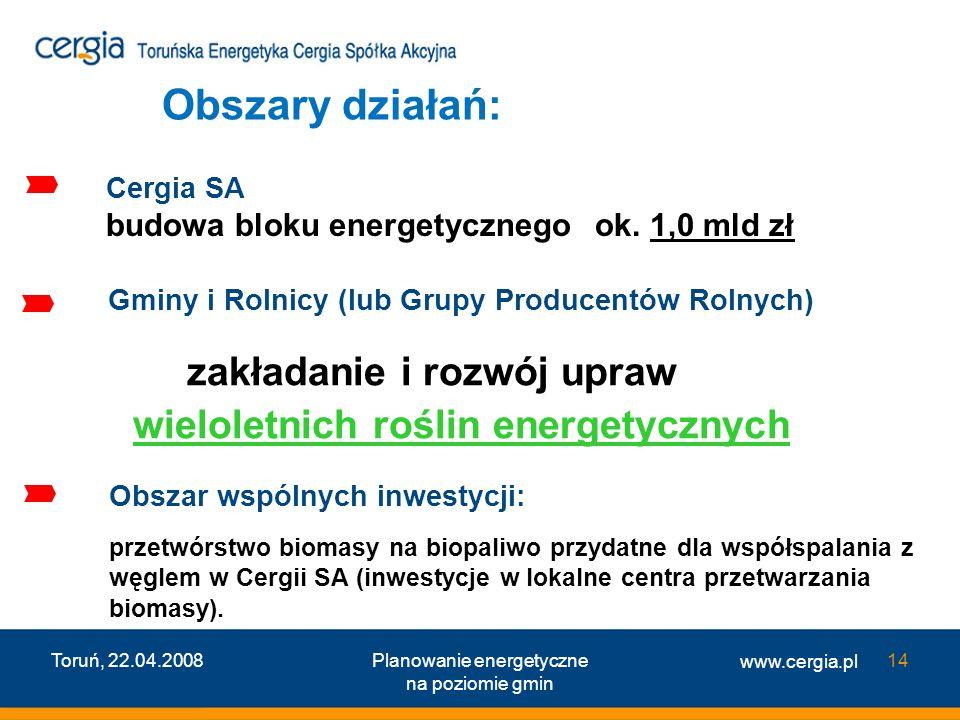 www.cergia.pl Toruń, 22.04.2008Planowanie energetyczne na poziomie gmin 14 Cergia SA budowa bloku energetycznego ok. 1,0 mld zł Gminy i Rolnicy (lub G