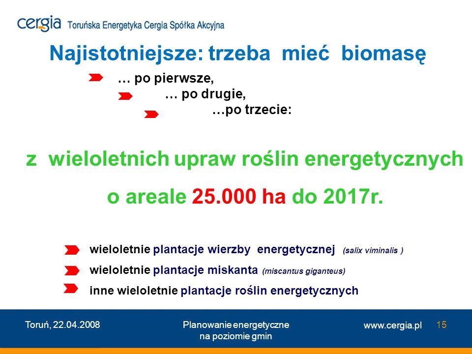 www.cergia.pl Toruń, 22.04.2008Planowanie energetyczne na poziomie gmin 15 … po pierwsze, … po drugie, …po trzecie: z wieloletnich upraw roślin energe