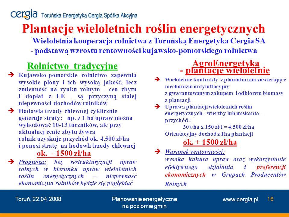 www.cergia.pl Toruń, 22.04.2008Planowanie energetyczne na poziomie gmin 16 Rolnictwo tradycyjne Kujawsko-pomorskie rolnictwo zapewnia wysokie plony i