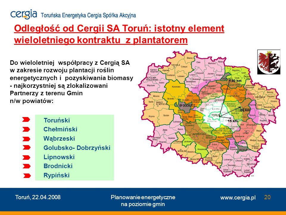 www.cergia.pl Toruń, 22.04.2008Planowanie energetyczne na poziomie gmin 20 Odległość od Cergii SA Toruń: istotny element wieloletniego kontraktu z pla