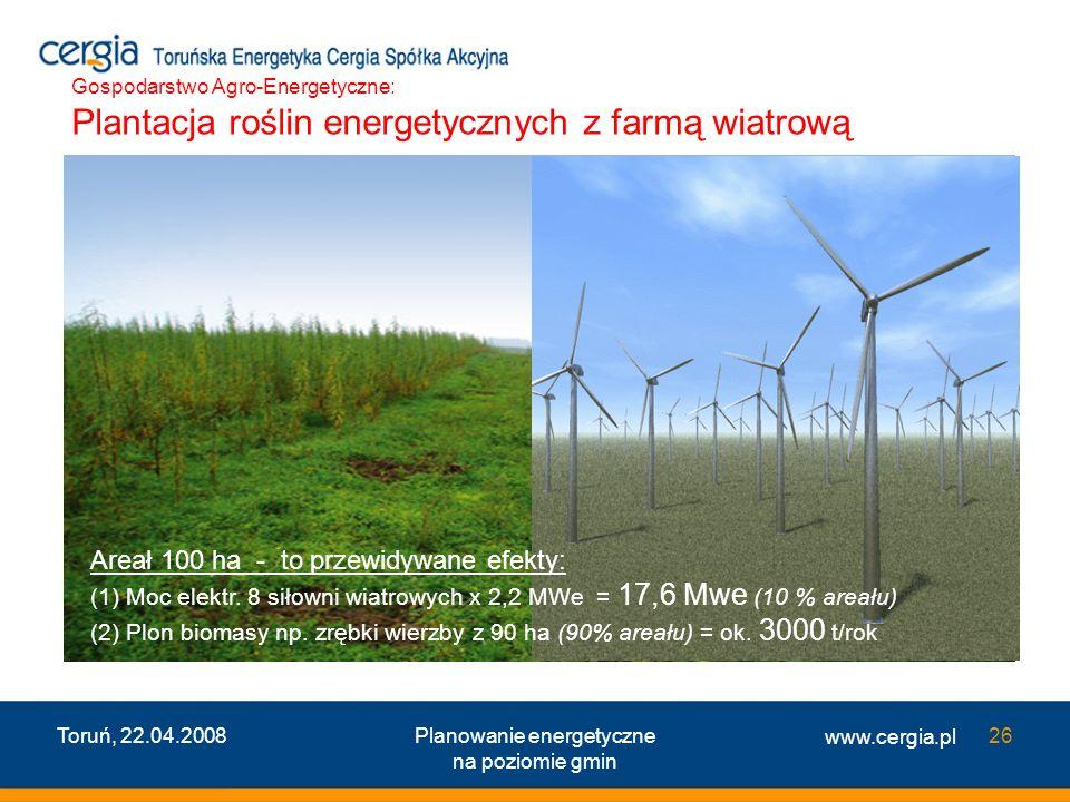 www.cergia.pl Toruń, 22.04.2008Planowanie energetyczne na poziomie gmin 26 Areał 100 ha - to przewidywane efekty: (1) Moc elektr. 8 siłowni wiatrowych