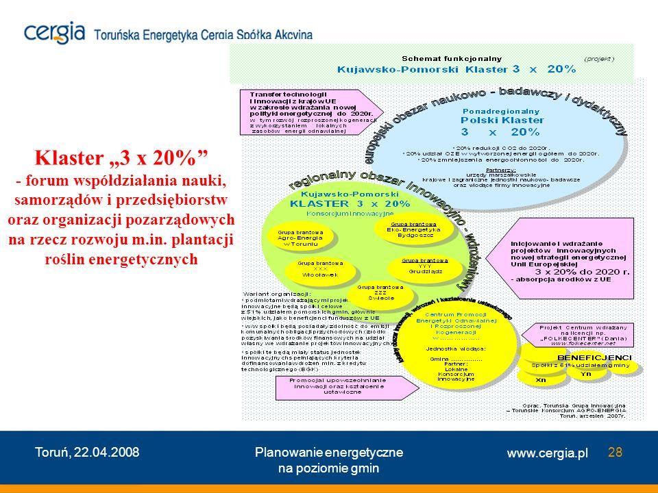 www.cergia.pl Toruń, 22.04.2008Planowanie energetyczne na poziomie gmin 28 Klaster 3 x 20% - forum wspó ł dzia ł ania nauki, samorz ą dów i przedsi ę