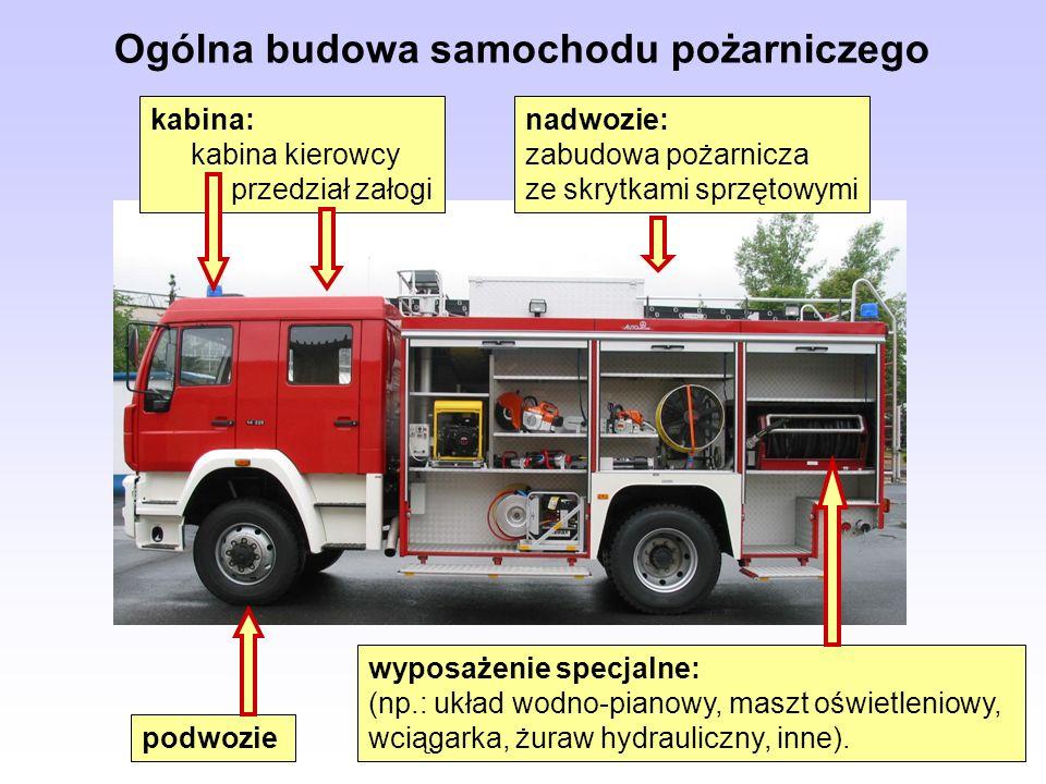 Ogólna budowa samochodu pożarniczego podwozie wyposażenie specjalne: (np.: układ wodno-pianowy, maszt oświetleniowy, wciągarka, żuraw hydrauliczny, in