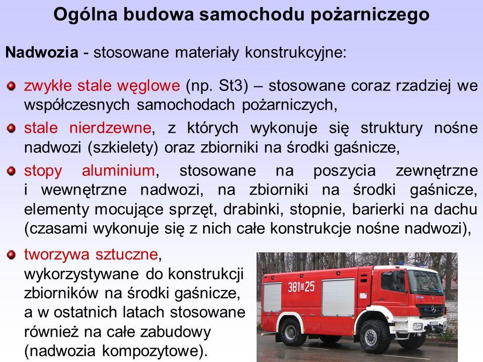 Ogólna budowa samochodu pożarniczego Nadwozia - stosowane materiały konstrukcyjne: zwykłe stale węglowe (np. St3) – stosowane coraz rzadziej we współc