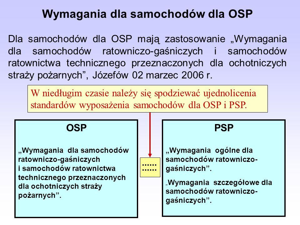 Wymagania dla samochodów dla OSP Dla samochodów dla OSP mają zastosowanie Wymagania dla samochodów ratowniczo-gaśniczych i samochodów ratownictwa tech
