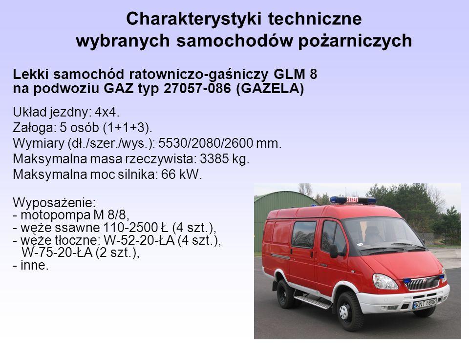 Charakterystyki techniczne wybranych samochodów pożarniczych Lekki samochód ratowniczo-gaśniczy GLM 8 na podwoziu GAZ typ 27057-086 (GAZELA) Układ jez