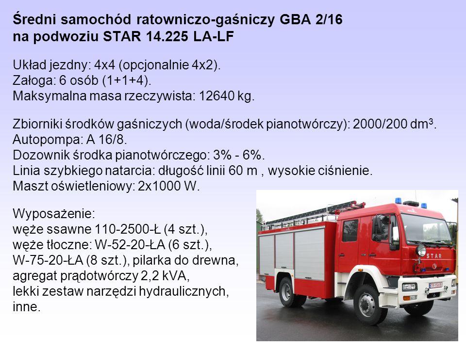 Średni samochód ratowniczo-gaśniczy GBA 2/16 na podwoziu STAR 14.225 LA-LF Układ jezdny: 4x4 (opcjonalnie 4x2). Załoga: 6 osób (1+1+4). Maksymalna mas