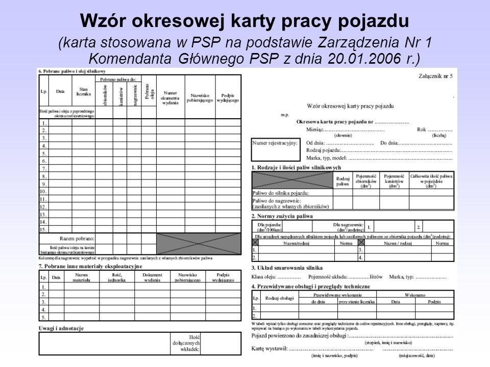 Wzór okresowej karty pracy pojazdu (karta stosowana w PSP na podstawie Zarządzenia Nr 1 Komendanta Głównego PSP z dnia 20.01.2006 r.)