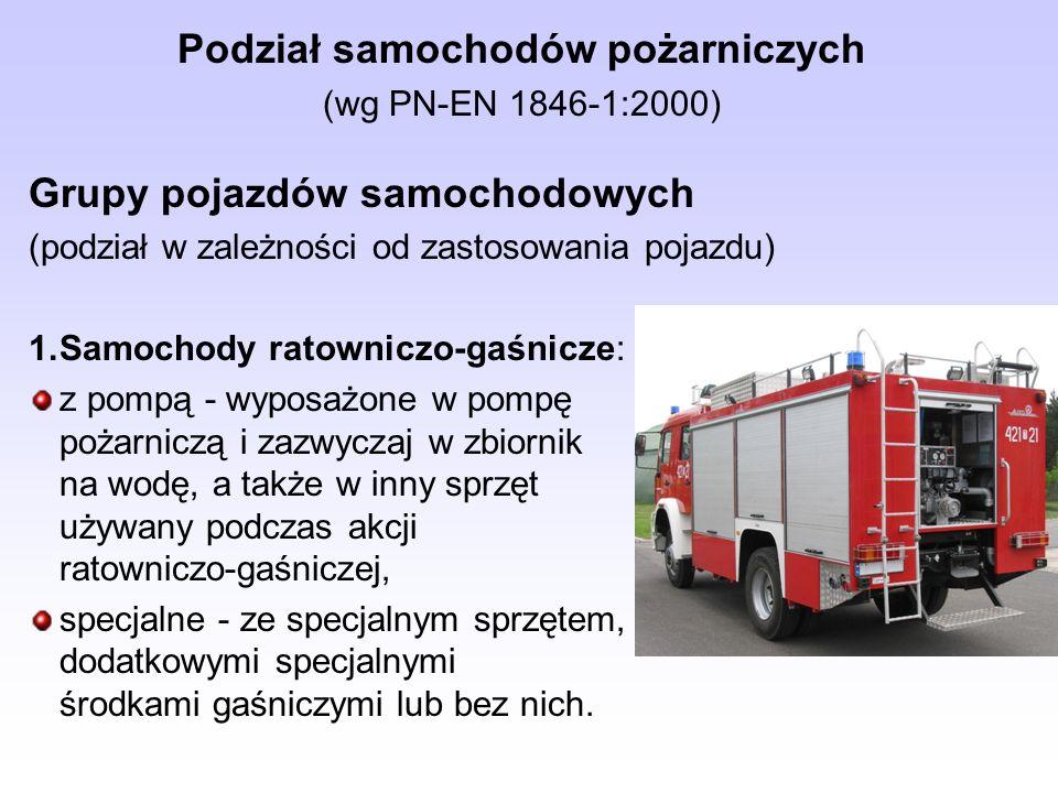 Podział samochodów pożarniczych (wg PN-EN 1846-1:2000) Grupy pojazdów samochodowych (podział w zależności od zastosowania pojazdu) 1.Samochody ratowni