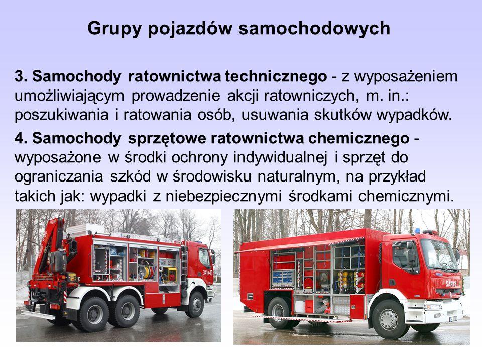 Grupy pojazdów samochodowych 3. Samochody ratownictwa technicznego - z wyposażeniem umożliwiającym prowadzenie akcji ratowniczych, m. in.: poszukiwani