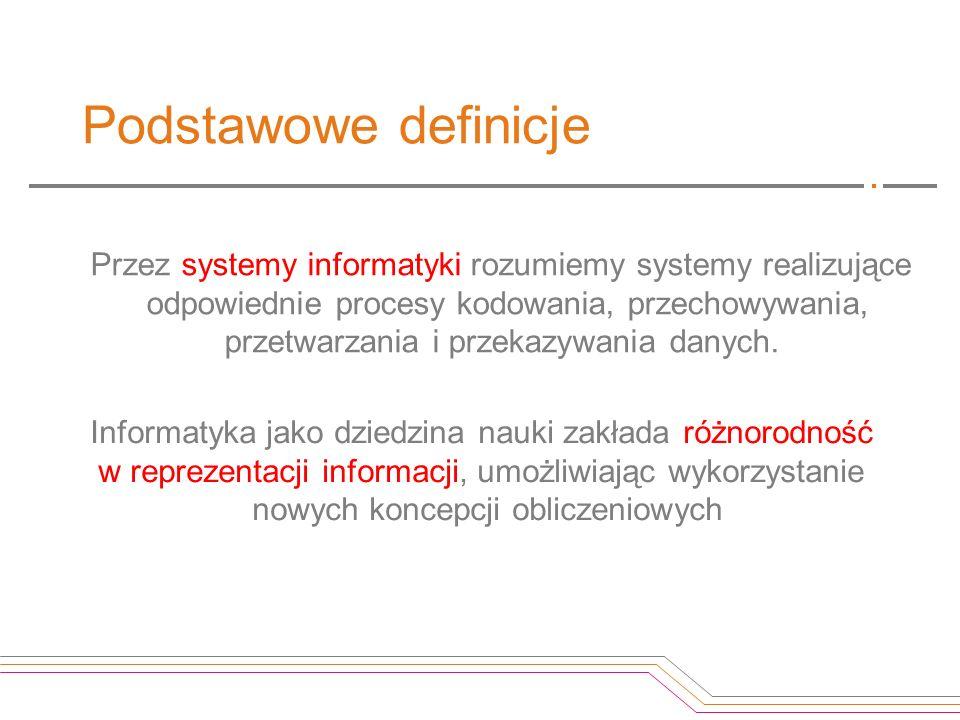 Podstawowe definicje Przez systemy informatyki rozumiemy systemy realizujące odpowiednie procesy kodowania, przechowywania, przetwarzania i przekazywa