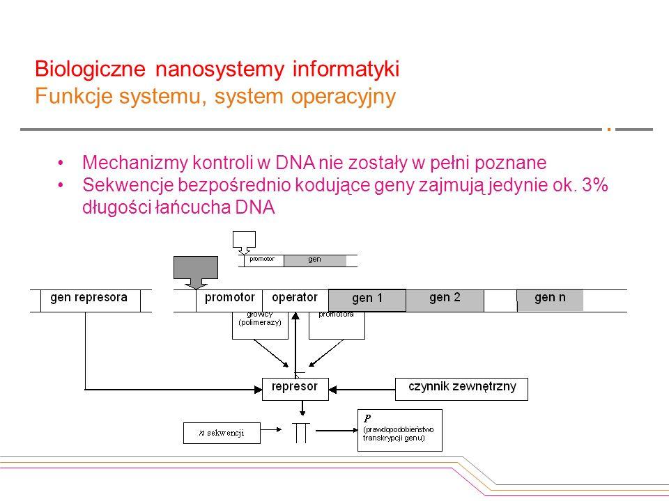 Mechanizmy kontroli w DNA nie zostały w pełni poznane Sekwencje bezpośrednio kodujące geny zajmują jedynie ok. 3% długości łańcucha DNA Biologiczne na