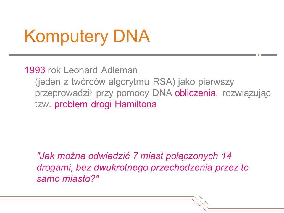 Komputery DNA 1993 rok Leonard Adleman (jeden z twórców algorytmu RSA) jako pierwszy przeprowadził przy pomocy DNA obliczenia, rozwiązując tzw. proble