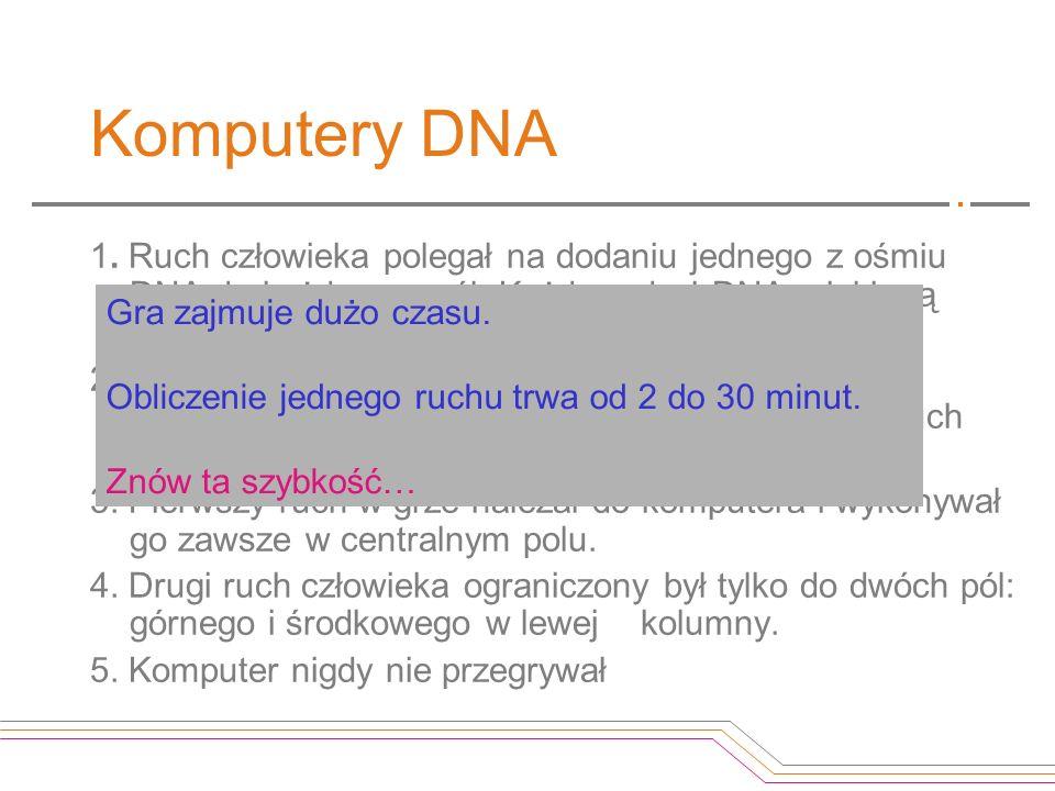 Komputery DNA 1. Ruch człowieka polegał na dodaniu jednego z ośmiu DNA do każdego z pól. Każdy rodzaj DNA miał inną sekwencję i oznaczał wybór innego