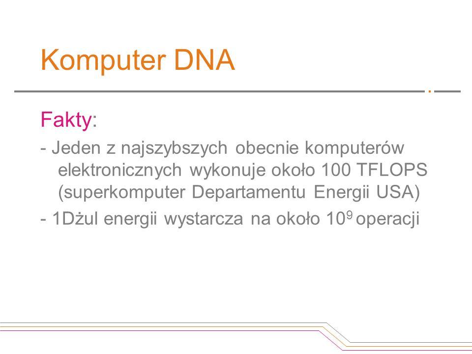 Komputer DNA Fakty: - Jeden z najszybszych obecnie komputerów elektronicznych wykonuje około 100 TFLOPS (superkomputer Departamentu Energii USA) - 1Dż