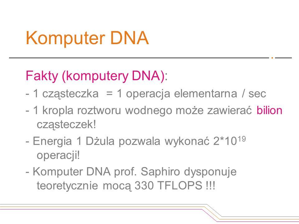 Komputer DNA Fakty (komputery DNA): - 1 cząsteczka = 1 operacja elementarna / sec - 1 kropla roztworu wodnego może zawierać bilion cząsteczek! - Energ