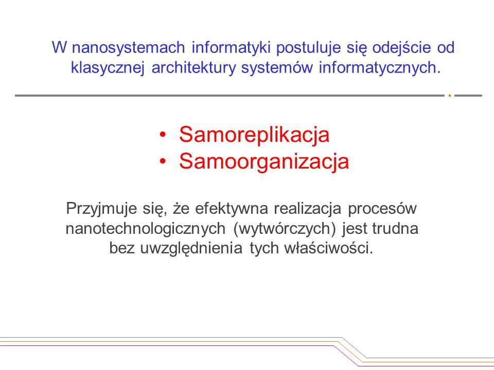 Samoreplikacja Samoorganizacja Przyjmuje się, że efektywna realizacja procesów nanotechnologicznych (wytwórczych) jest trudna bez uwzględnienia tych w