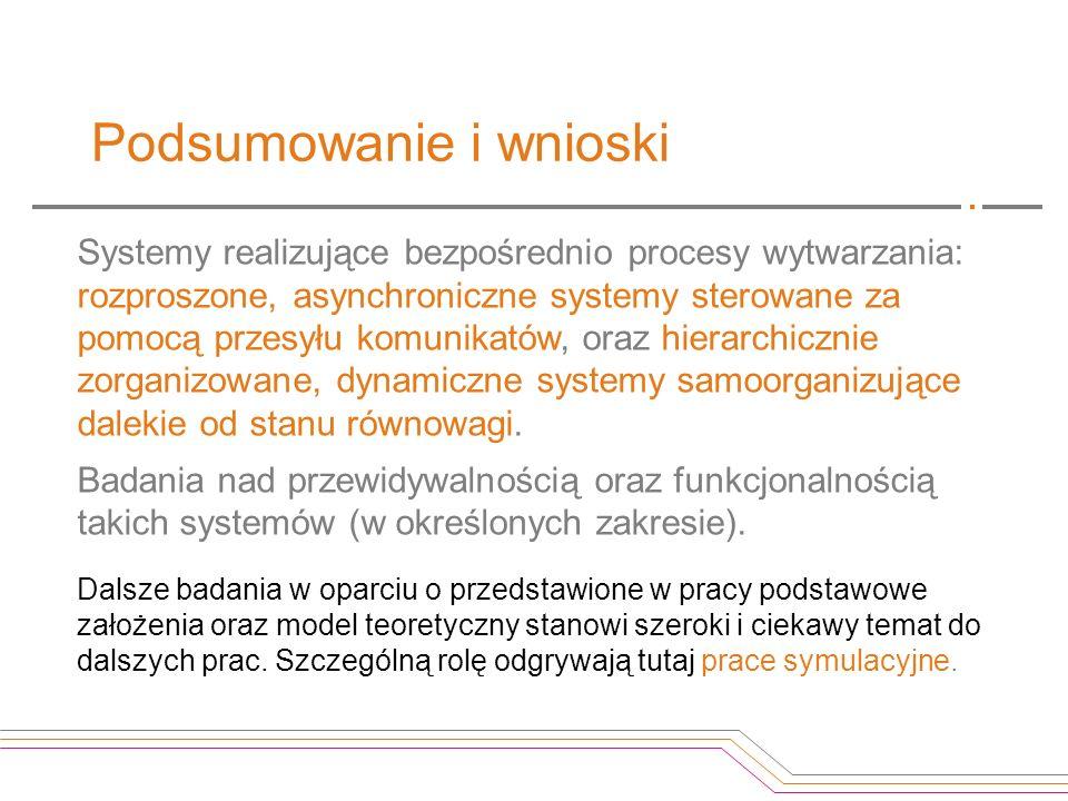 Podsumowanie i wnioski Systemy realizujące bezpośrednio procesy wytwarzania: rozproszone, asynchroniczne systemy sterowane za pomocą przesyłu komunika