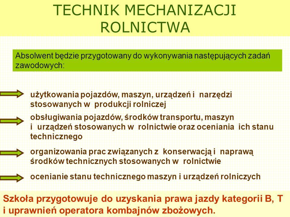 TECHNIK MECHANIZACJI ROLNICTWA użytkowania pojazdów, maszyn, urządzeń i narzędzi stosowanych w produkcji rolniczej ocenianie stanu technicznego maszyn