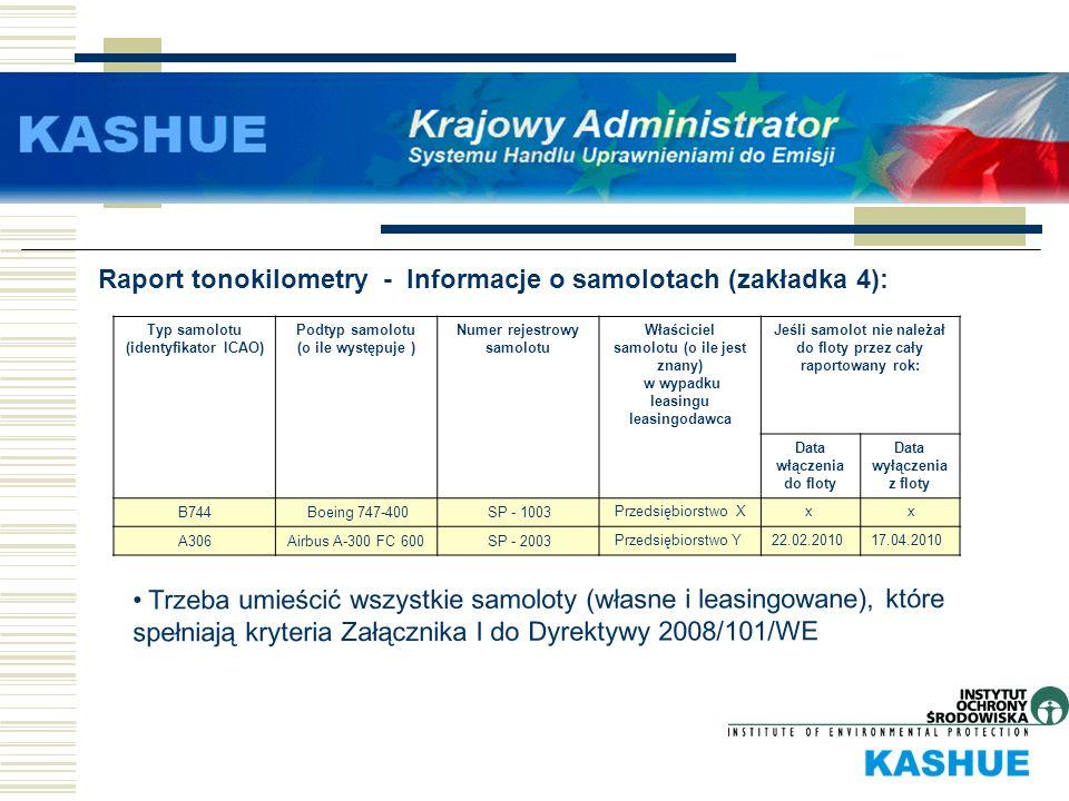 Raport tonokilometry - Informacje o samolotach (zakładka 4): Typ samolotu (identyfikator ICAO) Podtyp samolotu (o ile występuje ) Numer rejestrowy sam